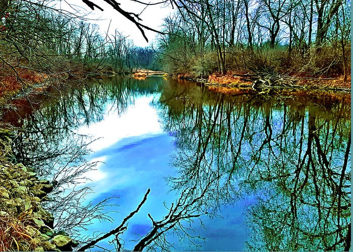 Reflections Of Trees In River Digital Art Greeting Cards