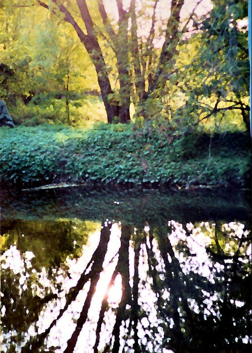 Landscape Greeting Card featuring the photograph Reflections At Wyeth by Ellen Lerner ODonnell