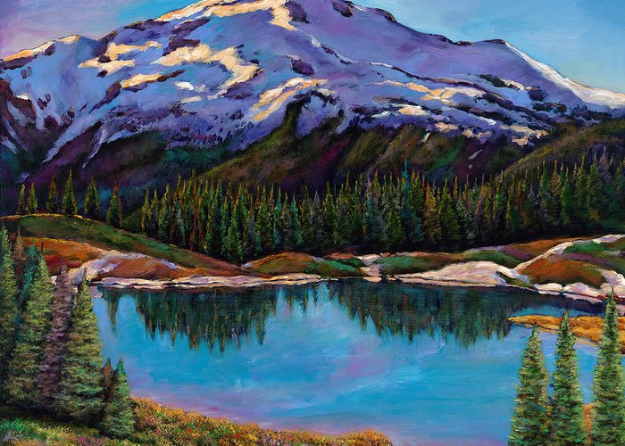 Mountains Greeting Card featuring the painting Reflections by Johnathan Harris