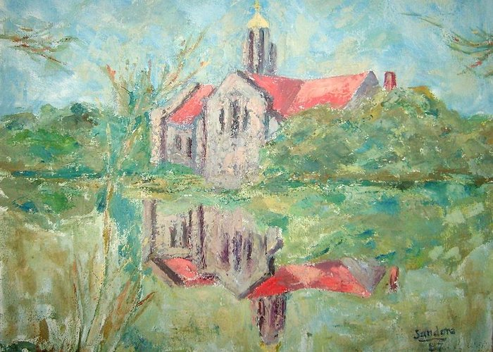 Landscape Church Reflections Greeting Card featuring the painting Reflections by Joseph Sandora Jr