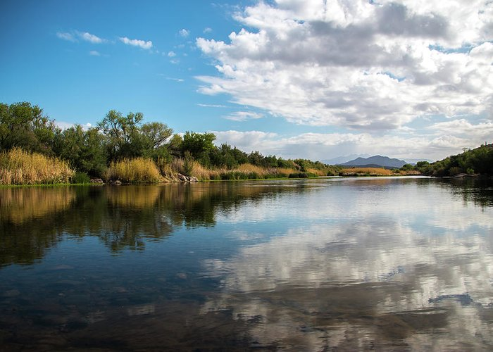 Landscape Greeting Card featuring the photograph Reflections by Kelly Lemen