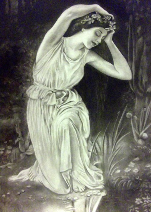 Charcoal Drawings Greeting Card featuring the drawing Reflections by Leela Muthu