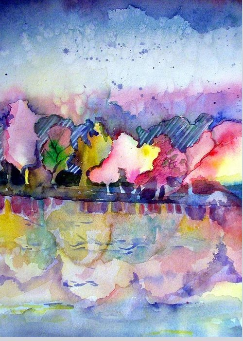 Landscape Greeting Card featuring the painting Reflections by Mindy Newman