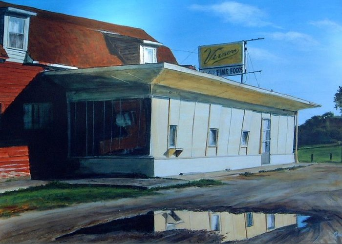 Landscape Greeting Card featuring the painting Reflections Of A Diner by William Brody