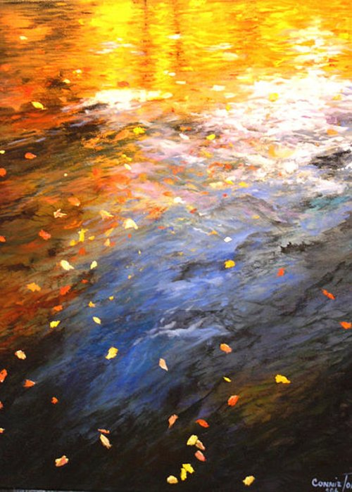 Oil Painting Greeting Card featuring the painting Reflections Of Autumn II by Connie Tom