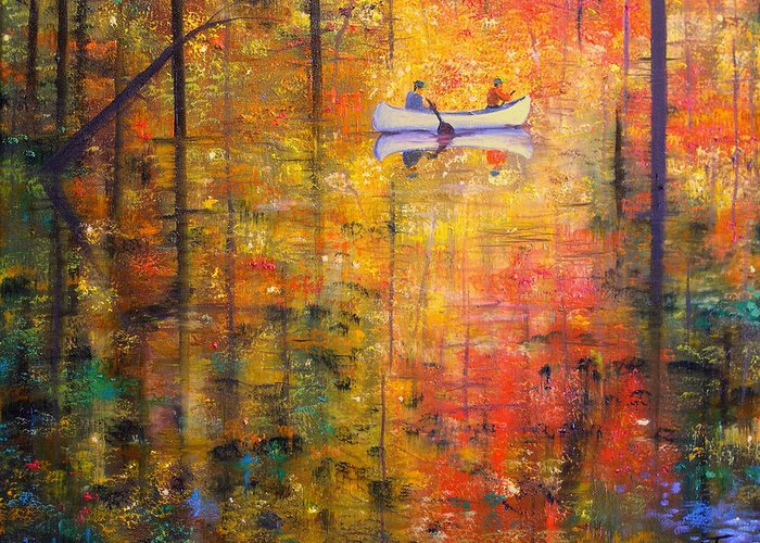 Connie Tom Greeting Card featuring the painting Reflections Of Autumn X by Connie Tom