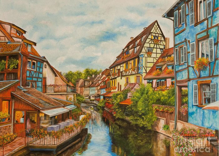Colmar France Paris Greeting Card featuring the painting Reflections Of Colmar by Charlotte Blanchard