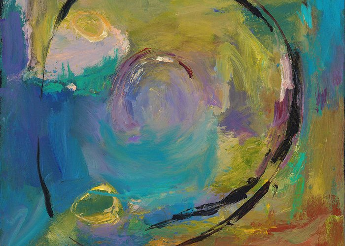 Abstract Greeting Card featuring the painting Reflections Of Earlier Days by Johnathan Harris