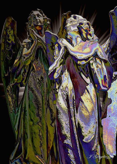 Angel Greeting Card featuring the digital art Reflections Of Faith by Jean Gugliuzza