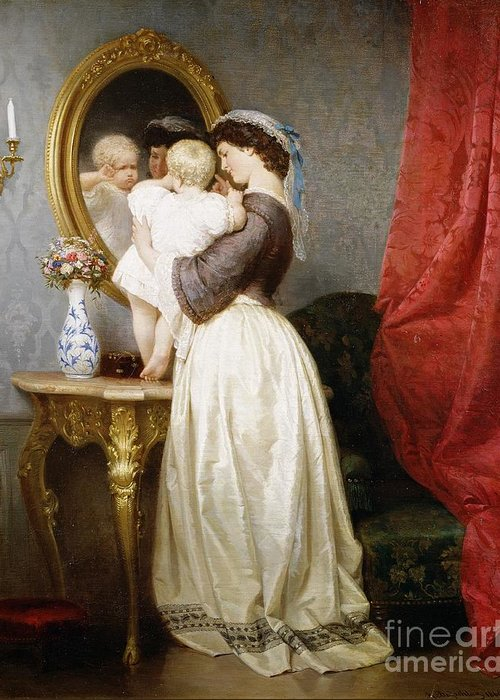 Reflections Greeting Card featuring the painting Reflections Of Maternal Love by Robert Julius Beyschlag