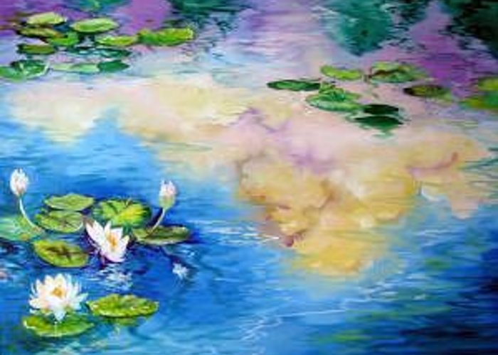 Waterlily Greeting Card featuring the painting Reflections On A Waterlily Pond by Marcia Baldwin