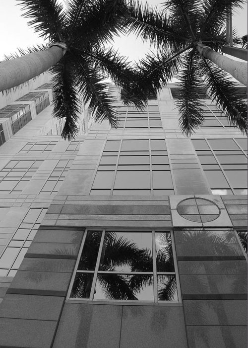 Architecture Greeting Card featuring the photograph Reflections On The Building by Rob Hans