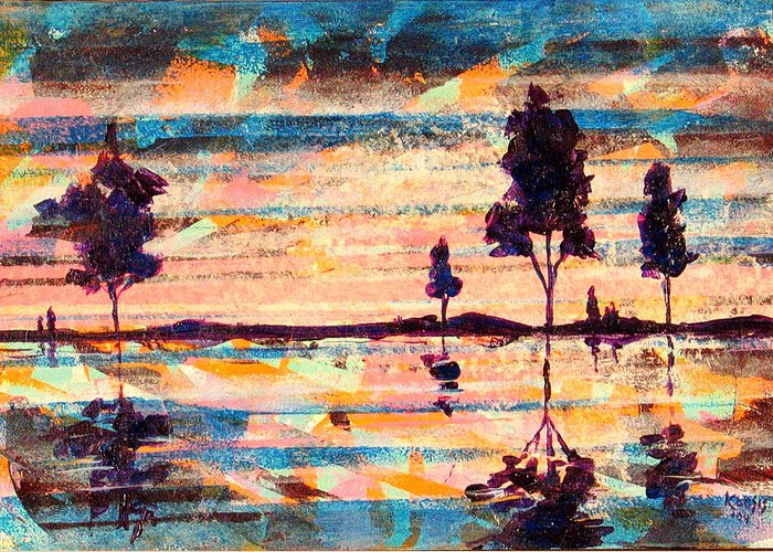 Water Greeting Card featuring the painting Reflections by Rollin Kocsis