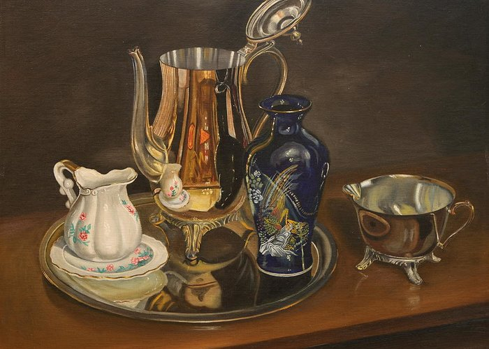 Still Life Greeting Card featuring the painting Reflections by Rosencruz Sumera