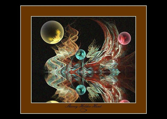 Fractal Greeting Card featuring the digital art Reflections by Sherry Holder Hunt