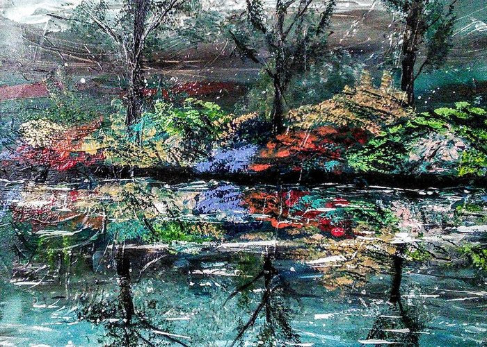 Woods Greeting Card featuring the painting Reflections by Valerie Josi