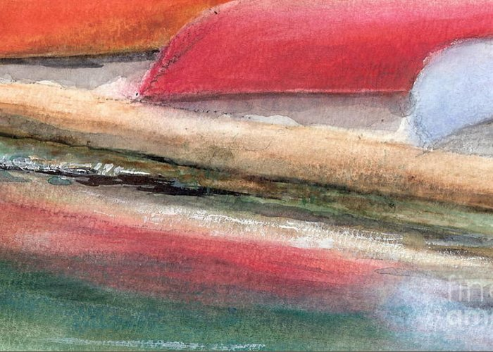 Boats Greeting Card featuring the painting Reflections by Vivian Mosley