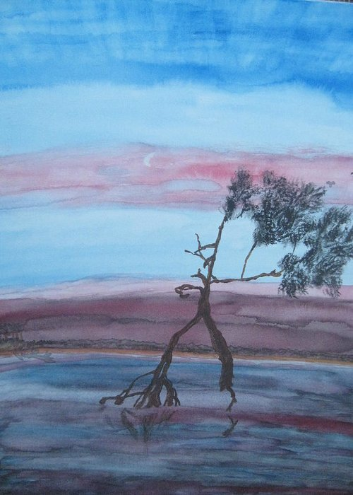 Landscape Acrylic Water Tree Greeting Card featuring the painting Reflections by Warren Thompson