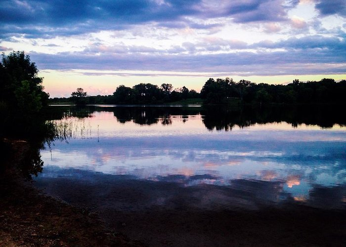 Landscape Greeting Card featuring the photograph Reflective River by Theresa Nichole