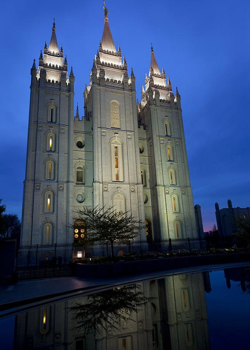 Reflective Temple Greeting Card featuring the photograph Reflective Temple by Chad Dutson