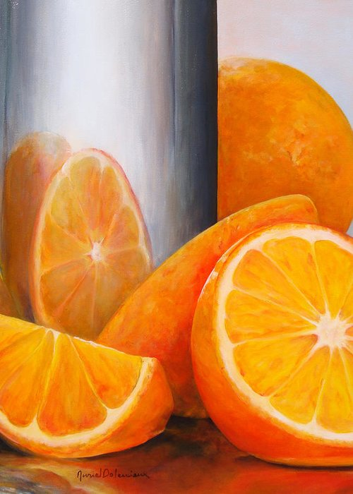 Still Life Greeting Card featuring the painting Reflet orange by Muriel Dolemieux