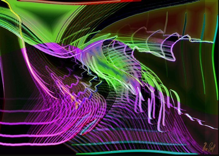 Drawing Greeting Card featuring the digital art Reflexions Green by Helmut Rottler