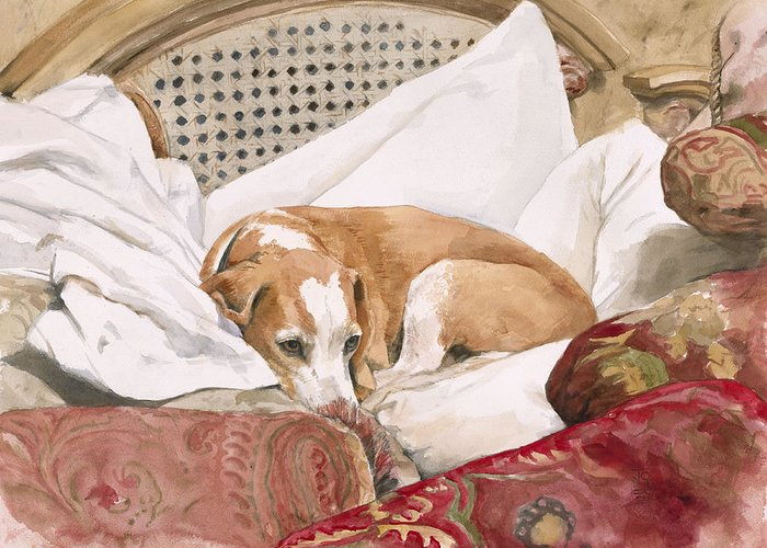 Dog Greeting Card featuring the painting Regal Beagle by Debra Jones