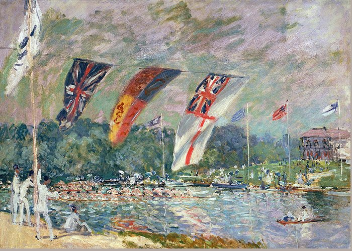Alfred Sisley Greeting Card featuring the painting Regatta At Molesey by Alfred Sisley