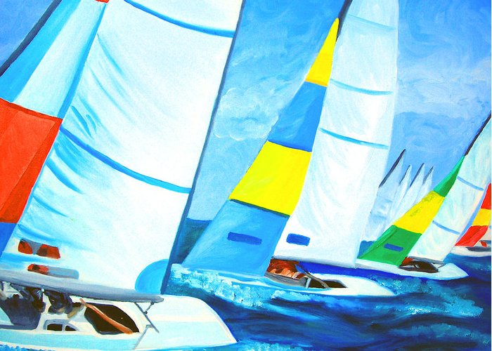 Sailing Greeting Card featuring the painting Regatta by Michael Lee