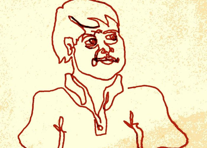Man Greeting Card featuring the drawing Regular Guy In Polo Shirt by Sheri Buchheit