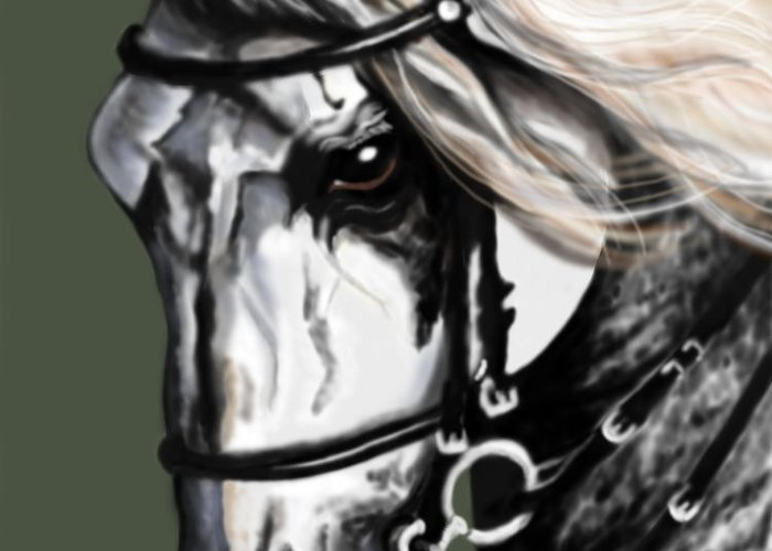 Horses Greeting Card featuring the painting Relampago Lx by Kim Souza