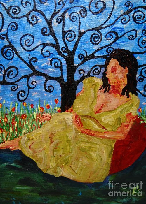 Woman Botanical Garden Portrait Tree Flowers Blue Green Peace Relax Greeting Card featuring the painting Relax by Reina Resto