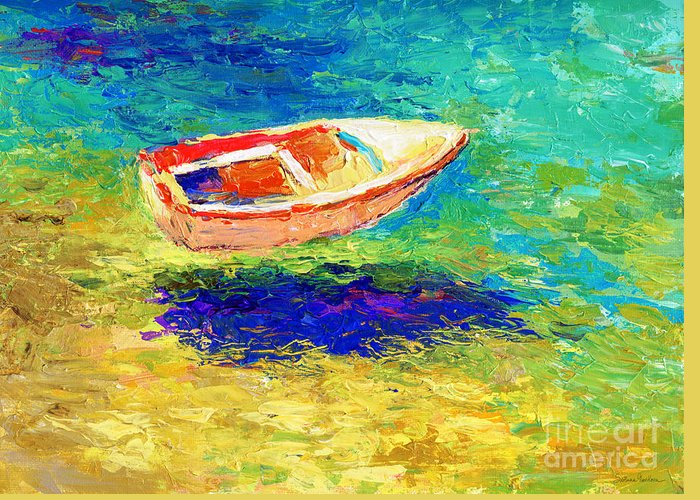 Boat Greeting Card featuring the painting Relaxing Getaway by Svetlana Novikova
