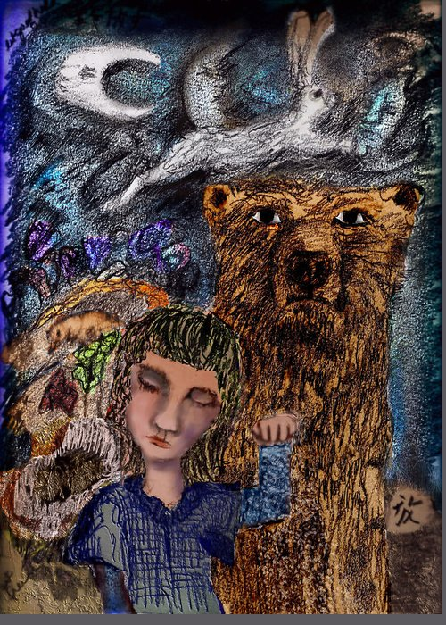 Girl Greeting Card featuring the mixed media Release by Cynthia Richards