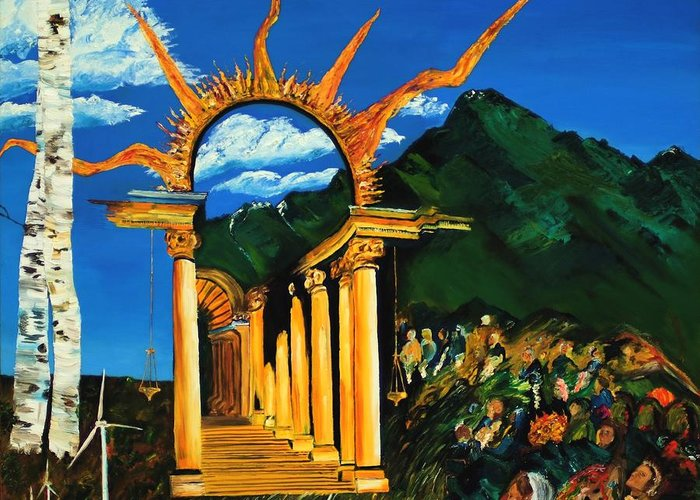 Climategate Greeting Card featuring the painting Religion And Nature by Gregory Allen Page