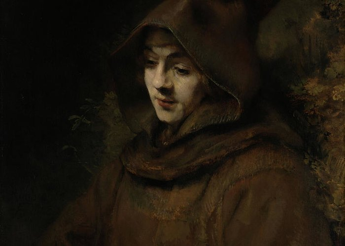 Painting Greeting Card featuring the painting Rembrandt's Son Titus In A Monk's Habit by Mountain Dreams