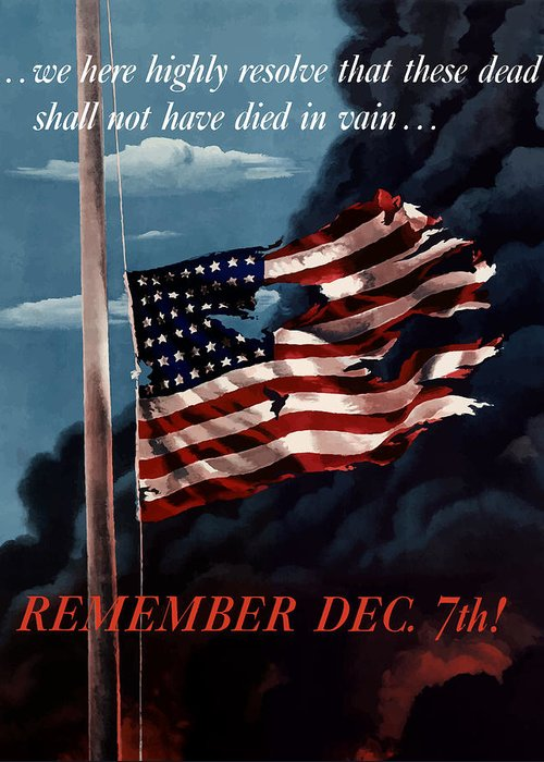 American Flag Greeting Card featuring the painting Remember December Seventh by War Is Hell Store