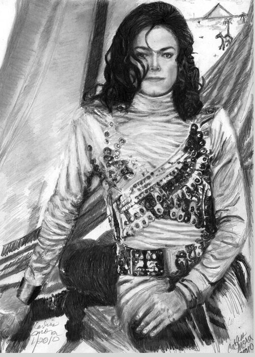 Mj Greeting Card featuring the drawing Remember The Time by Carliss Mora