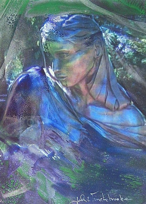 Womans Face Greeting Card featuring the mixed media Remembering by John Vandebrooke