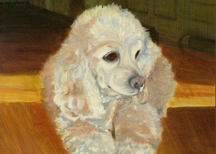 Animal Greeting Card featuring the painting Remembering Morgan by Paula Emery