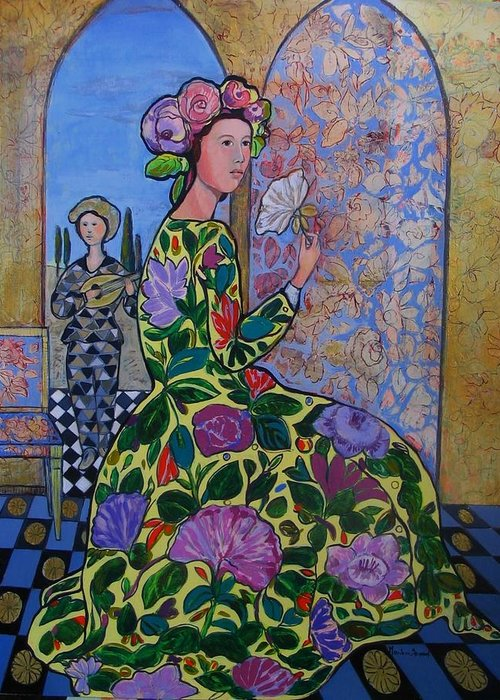 Remembering The Flower Door Greeting Card featuring the painting Remembering The Flower Door by Marilene Sawaf