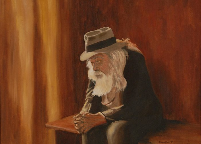 Man Greeting Card featuring the painting Remembrance by Quwatha Valentine