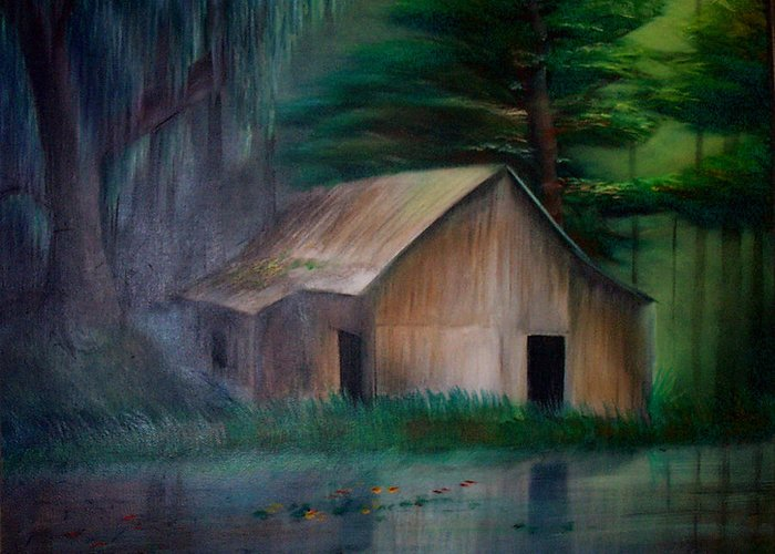 Landscape Greeting Card featuring the painting Remnants by Angelina Benson