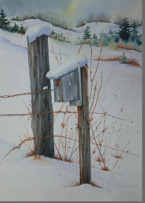 Snow Greeting Card featuring the painting Remsen Winter by Frank Zampardi