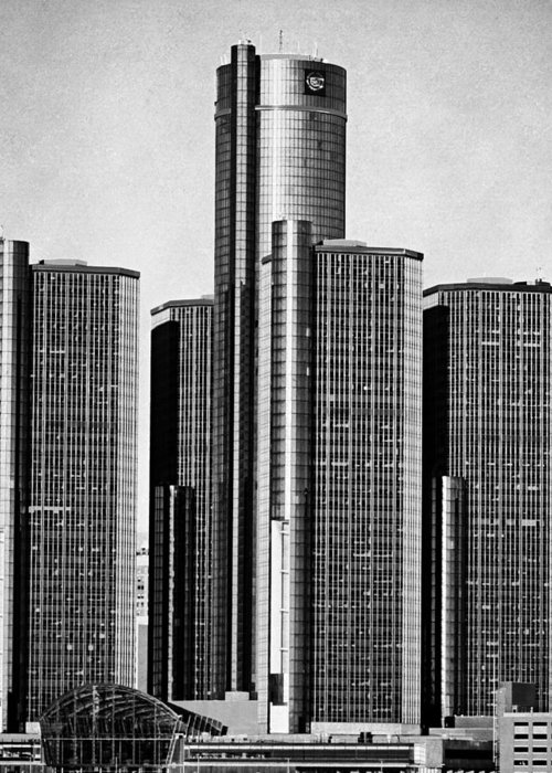 Renaissance Center Greeting Card featuring the photograph Renaissance Center - Black And White by Alanna Pfeffer