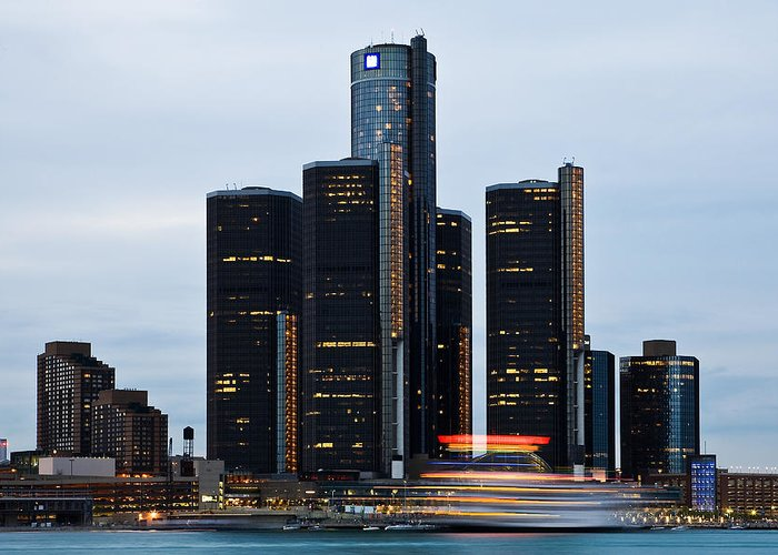 Michigan Greeting Card featuring the photograph Renaissance Center At Dusk by James Marvin Phelps