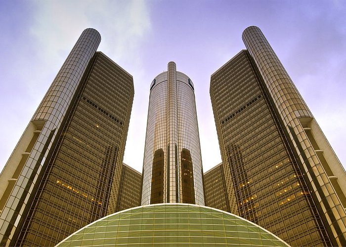 America Greeting Card featuring the photograph Renaissance Center by Michael Peychich