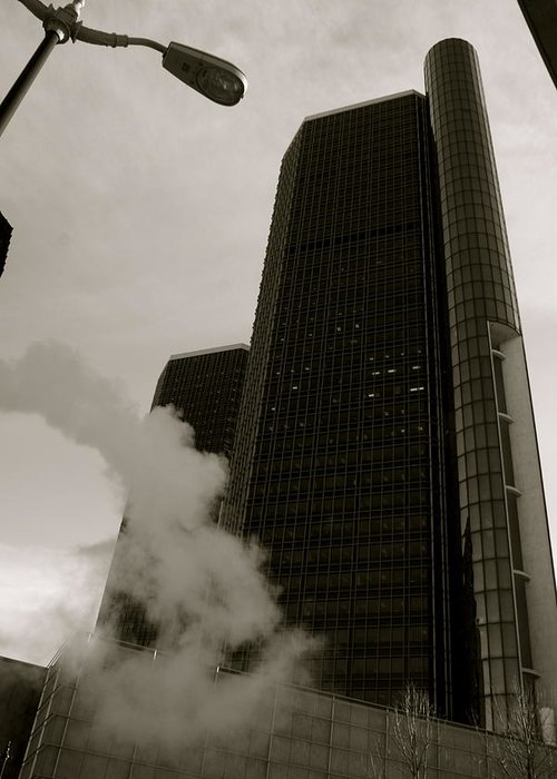 Detroit Greeting Card featuring the photograph Renaissance Center by Sonja Anderson