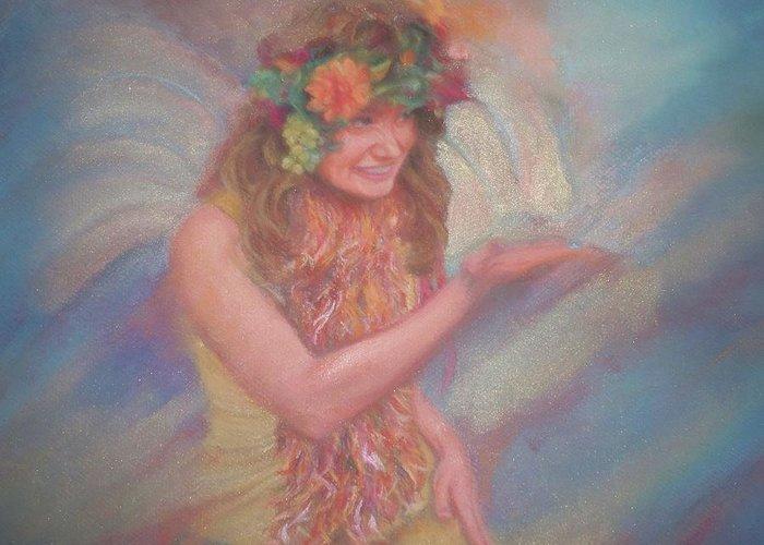 Renaissance Greeting Card featuring the pastel Renaissance Festival Fairy by Diane Caudle
