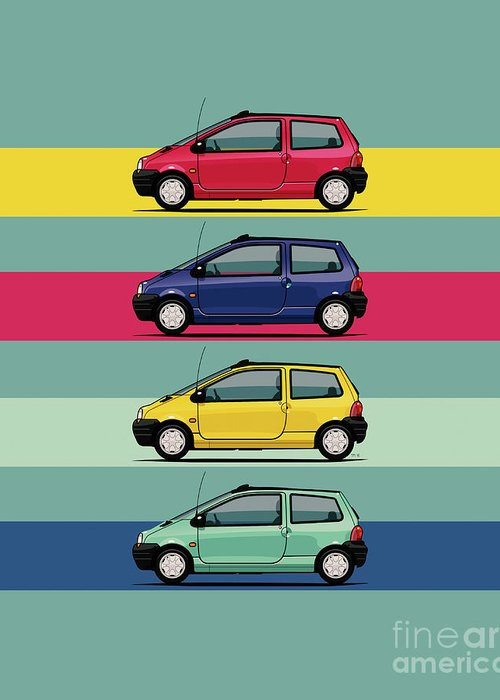 Car Greeting Card featuring the digital art Renault Twingo 90s Colors Quartet by Monkey Crisis On Mars
